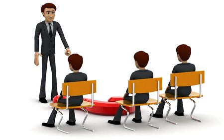 3d man teacher asking question to students concept on white background, back angle view