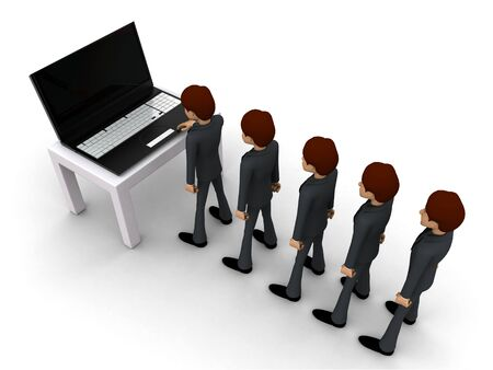 3d man in queue and working on laptop concept on white background, top angle view Stockfoto