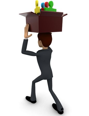 3d man holding box of puzzle pieces on head concept on white backgorund, back angle view Stockfoto