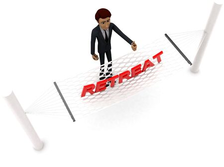 3d man standing waving hand and RETREAT text on weaver concept on white background - 3d rendering , top angle view