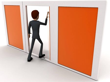 3d man choose middle one door from three different doors concept on white background, back  angle view Stockfoto