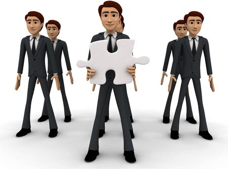 3d men in three line and one man holding puzzle piece with text here concept on white background, front angle view