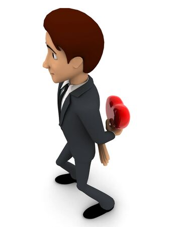 3d man hiding heart to give someone concept on white background, top angle view