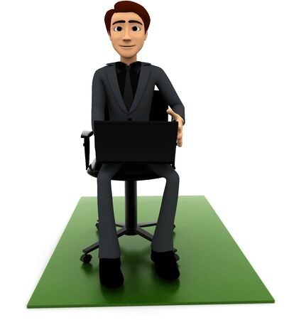 3d man put laptop on chair on white background, front angle view 版權商用圖片
