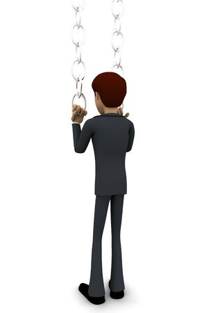 3d man pushing chain concept on white background, back angle view