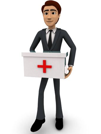 3d man with medical kit concept on white background, front angle view