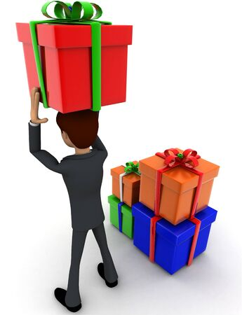3d man holding gift on head and with many other gifts concept on white background, back angle view
