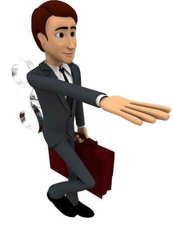 3d man with toy key on back concept on white background, side angle view