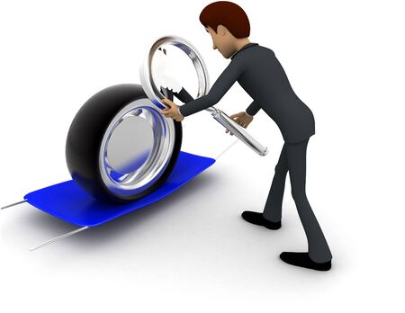 3d man examine tire concept on white background, back angle view Stockfoto