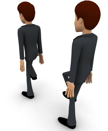 3d man following action of another man concept on white background, back angle view