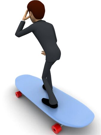 3d man skating on skateboard concept on white background, back  angle view Stockfoto
