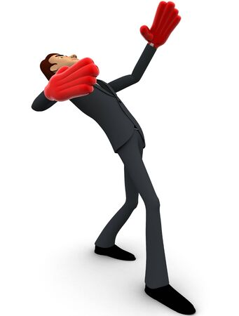 3d man falling on back with red hand boxing gloves concept on white background, side angle view Stockfoto