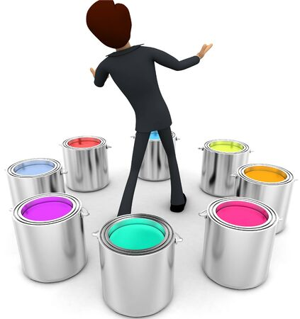 3d man with many eight colour buckets concept on white background, back angle view