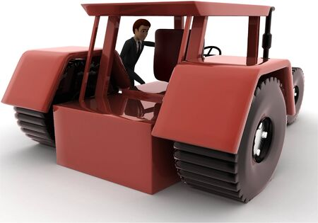 3d man with tracktor concept on white background, back angle view Stockfoto