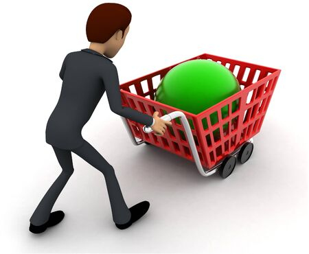 3d man with red shopping cart and green sphere in it concept on white background, back angle view Stockfoto