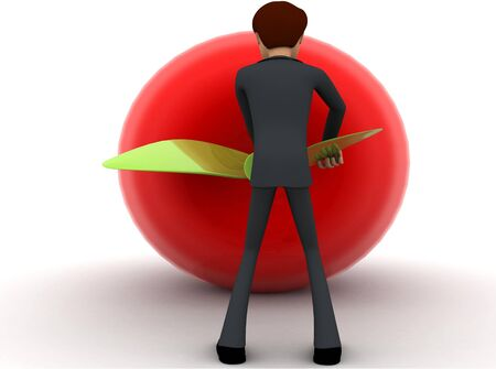 3d man try to draw big red apple and pulling leaf concept on white background, back angle view