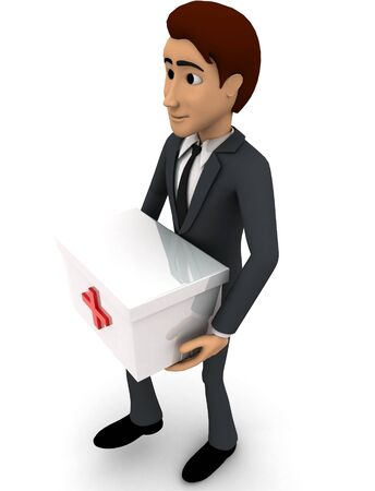 3d man with medical kit concept on white background, side  angle view Stock Photo