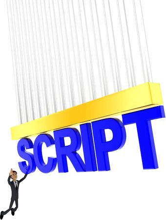 3d man about to grab SCRIPT text concept on white background - 3d rendering , side angle view Stock Photo
