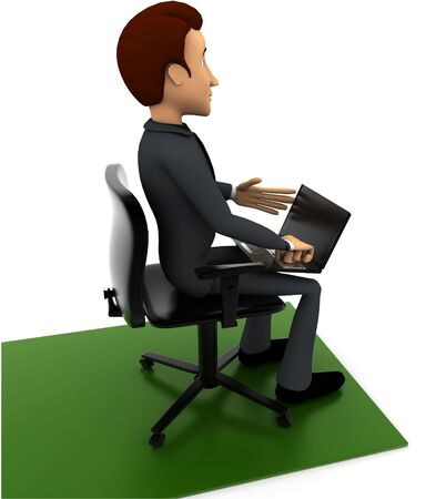 3d man put laptop on chair on white background, side angle view