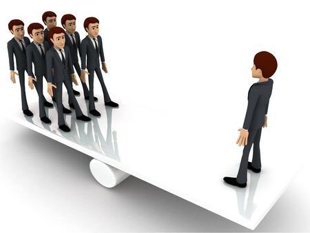 3d business man standing on seasaw to create balance concept on white background, side angle view Stock Photo