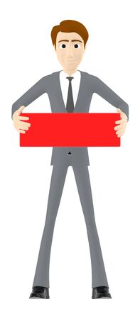 3d man character holding a red empty banner - 3d rendering