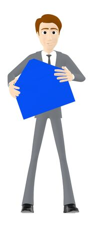 3d character , man holding a opened envelope - 3d rendering