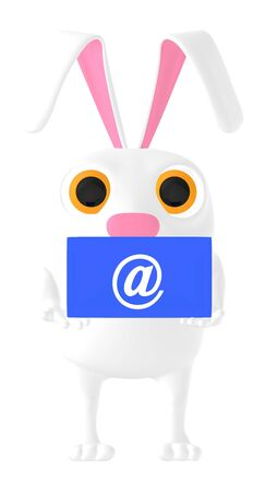 3d character , rabbit holding email sign envelope - 3d rendering