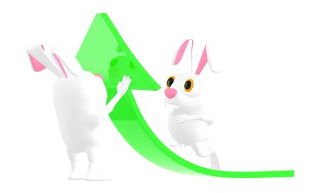 3d character , rabbit lifting up a arrow , another rabbit walking over it - 3d rendering