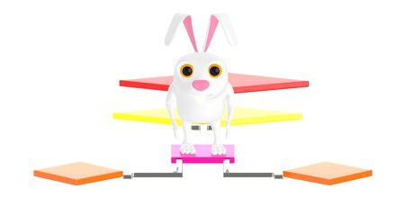 3d character , rabbit standing over a flow chart - 3d rendering