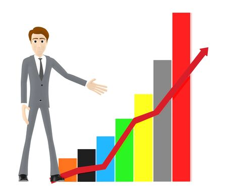 3d character , man and rising a bar graph and arrow graph - 3d rendering