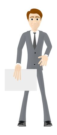 3d character , man holding a white board - 3d rendering