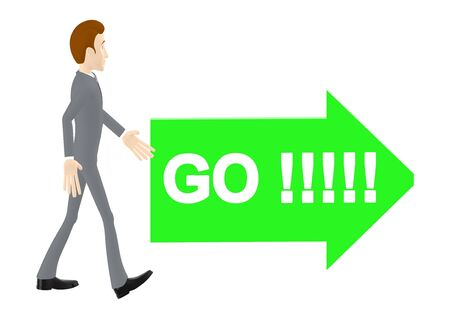 3d character , man walking towards a arrow labelled go text in it - 3d rendering 스톡 콘텐츠