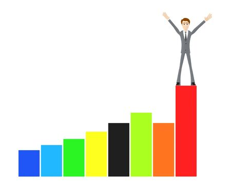 3d character , man raising hands while standing on top of a bar graph - 3d rendering