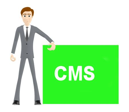 3d character , man and cms text - 3d rendering