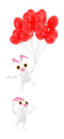 3d character , rabbit character flying togheter with bunch of balloons , another rabbit character on the ground - 3d rendering