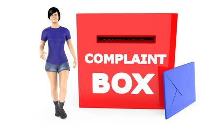 3d character , woman and a complaint box with envelope - 3d rendering