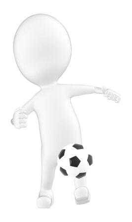 3d character , man kicking football - 3d rendering Stok Fotoğraf