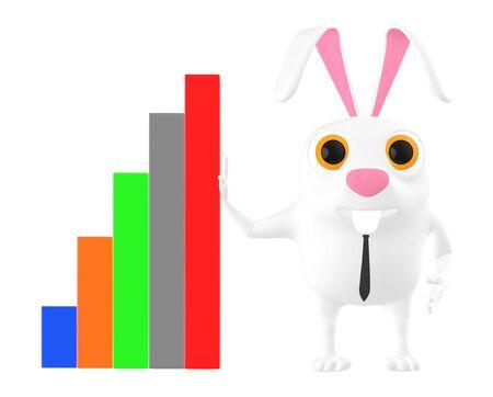 3d character , rabbit and bar graph- 3d rendering