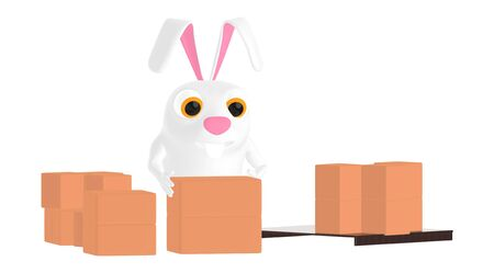 3d character , rabbit and stack of cardboard boxes - 3d rendering