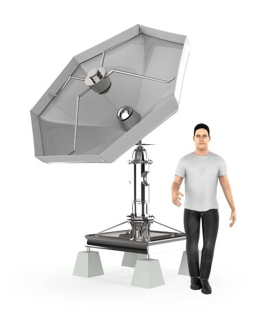 3d character , man , standing near to a dish antenna - 3d rendering 스톡 콘텐츠