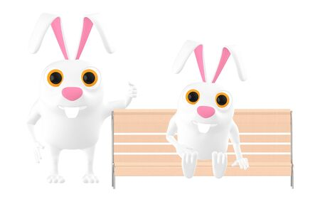 3d character , rabbit two of them , one sitting on the bench and other standing - 3d rendering