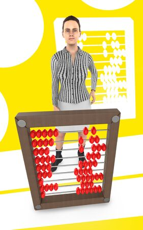 3d character , woman and a abacus - yellow background- 3d rendering 스톡 콘텐츠