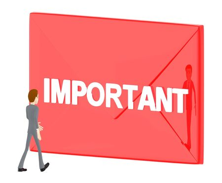 3d character , man walking towards envelope with important text in it - 3d rendering
