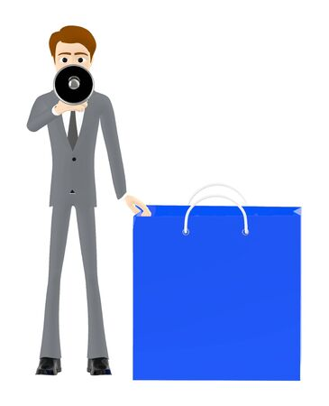 3d character man holding a loudspeaker while standing near to a shopping bag - 3d rendering