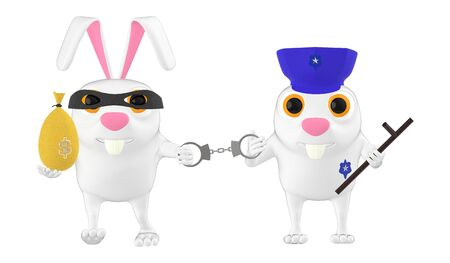 3d character , rabbit police officer , cop and the culprit , theif - 3d rendering