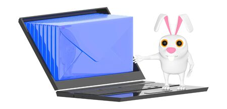 3d character , rabbit , laptop and envelopes inside the screen - 3d rendering Stock Photo - 133309498