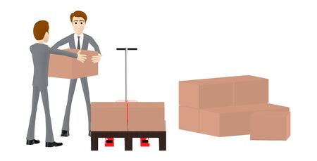 3d character , man and stack of cardboard boxes - 3d rendering