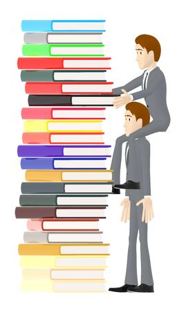 3d character , man sitting on another characters shoulder and arranging books - 3d rendering Banque d'images - 133153800