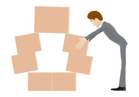 3d character , man arranging cardboard boxes - Zdjęcie Seryjne
