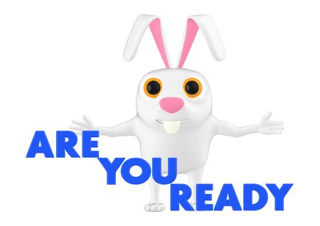 3d character , rabbit and are you ready text - 3d rendering